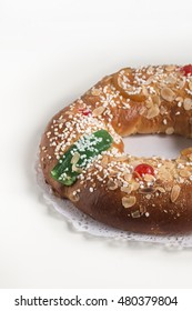 Kings cake, Roscon de Reyes, spanish traditional sweet to eat in Chritsmas with copyspace