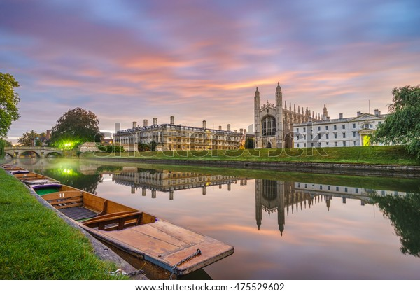 King's chapel at sunrise near river Cam in Cambridge. England