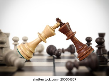 Kings chess duel on the chess board