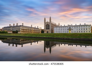 King's College with beautiful sky at sunrise in Cambridge, UK