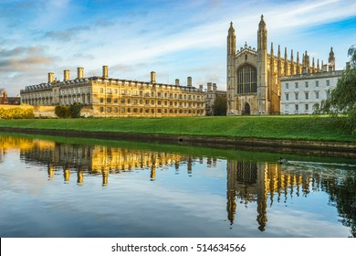 King's College Chapel with beautiful morning sky in Cambridge, UK