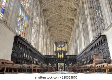 King's College Chapel, Cambridge. Interior seen from high altar, with the world's largest fan vault.