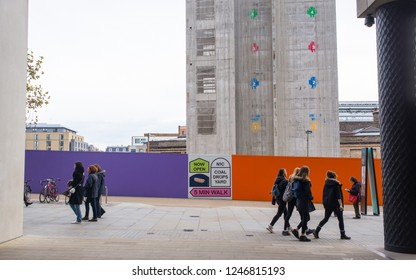 Kings Cross, London, England UK - November 2018: Construction site of Google's new King's Cross HQ headquarters  designed by Bjarke Ingels Group and Heatherwick Studios with people walking