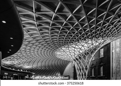 King's Cross London railway station indoor modern architecture construction, contrast with the old house
