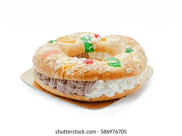 "Kings ring cake . Traditional Spanish pastry ""Roscon de reyes"""