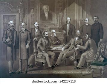 Kings of Wall Street, 1882. Left to right: Cyrus Field, Russell Sage, Rufus Hatch, Jay Gould, Sidney Dillon, Darius Ogden Mills, William H. Vanderbilt, August Belmont, George Ballou, James R. Keene
