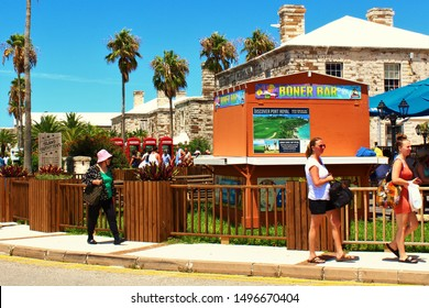 King's Wharf, Bermuda - August 17th 2019: The Boner Bar snack shack in King's Wharf port, Bermuda. Bermuda is a British Overseas Territory, and visible behind, are four red British telephone boxes.