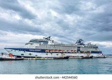 KINGS WHARF,BERMUDA, MAY 25 - The Celebrity Summit cruise ship docked at the Royal Naval Dockyard on May 25 2016 in Bermuda.