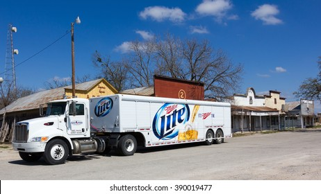 KINGSBURY, TEXAS ?? FEBRUARY 19 2016: A Miller Lite truck stopped to make a delivery in a small rural Texas town.