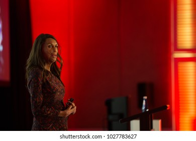 KINGSCLIFF, AUSTRALIA - AUGUST 10, 2017:  Turia Pitt gives motivational speech at Mantra Group conference.  Turia Pitt is an Australian humanitarian, athlete, motivationalist, and author.