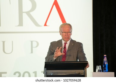 KINGSCLIFF, AUSTRALIA - August 9, 2017:  Peter Beattie gives speech on Mantra Group conference.  The Honourable Peter Beattie AC is Chairman of Gold Coast 2018 Commonwealth Games Corporation.
