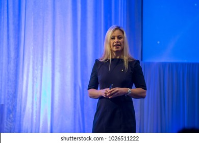 KINGSCLIFF, AUSTRALIA - JULY 16, 2015:  Alisa Camplin gives motivational speech on Mantra Group conference.  Alisa is an Australian aerial skier who won gold at the 2002 Winter Olympics.