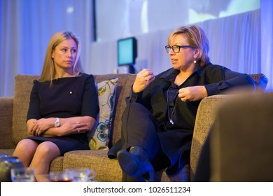 "KINGSCLIFF, AUSTRALIA - JULY 16, 2015:  Alisa Camplin and Rosemary Anne ""Rosie"" Batty participate in panel discussion at Mantra Group conference."