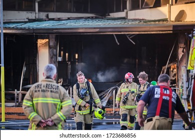 Kingscliff, NSW / Australia - May 04 2020: NSW Fire and Rescue Firefighters fighting fire at burning club/pub in Northern NSW