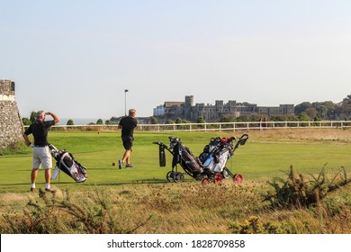 Kingsgate Bay / UK - 21 September 2020: People playing golf in Kingsgate Bay, Thanet, Kent