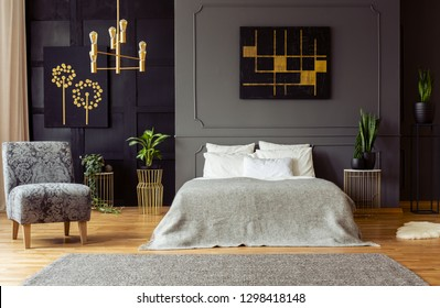 King-size bed with white pillows and grey blanket standing in dark room interior with floral armchair, fresh plants and paintings on walls with wainscoting