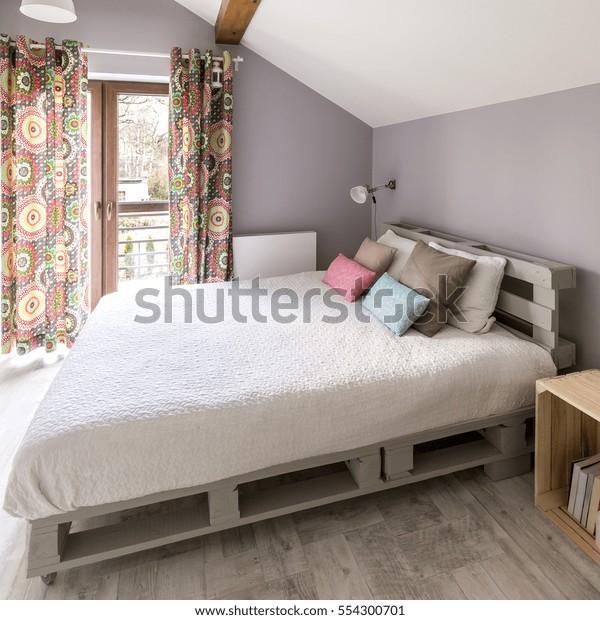 Kingsize Pallete Bed Modern Grey Bedroom Stock Photo (Edit Now ...