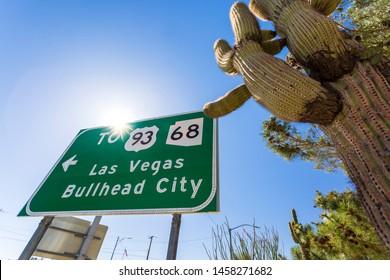 Kingsman, USA - MAY 26, 2018: Las Vegas and Bullhead City sign on Route 66, Kingman, Arizona, United States of America, North America