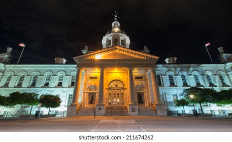 KINGSTON, CANADA - JULY 5, 2014: Kingston City Hall in Kingston, Ontario, Canada at night.