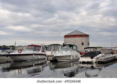 Kingston, Canada - May 29, 2017: Gloomy skies over Kingston waterfront.