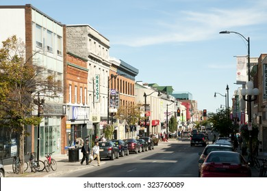 KINGSTON, CANADA - September 20, 2015: City scene on Princess street which is the main retail street of downtown Kingston