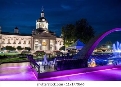Kingston City hall at night, Ontario, Canada