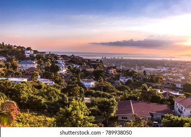 Kingston city hills in Jamaica sunset with flowers