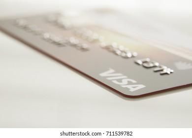 Kingston, Jamaica, 09.06.2017, Visa Card on white background