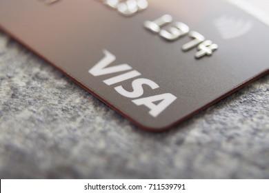 Kingston, Jamaica, 09.06.2017, Visa Card on tiled background
