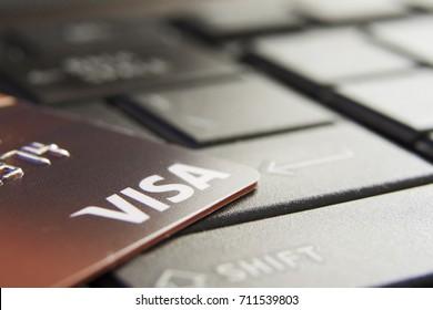 Kingston, Jamaica, 09.06.2017, Visa Card on Keyboard