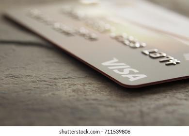 Kingston, Jamaica, 09.06.2017, Visa Card on textured background