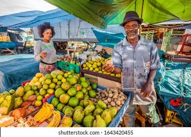 Kingston Jamaica - 11/24/2013: Biggest Coronation food market in Kingston Jamaica day