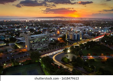 KINGSTON / JAMAICA - JANUARY 16, 2020: CITYSCAPE OF KINGSTON JAMAICA AT SUNSET