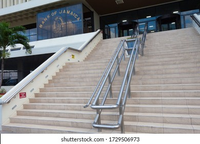 KINGSTON / JAMAICA - MAY 11, 2020: BANK OF JAMAICA. VIEW OF THE STEPS LEADING TOWARDS THE ENTRANCE OF ONE OF JAMAICA'S LEADING FINANCIAL INSTITUTIONS.