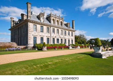 KINGSTON LACY, UK - SEPTEMBER 29, 2012: A view toward the country house at Kingston Lacy with landscaped gardens in Summer