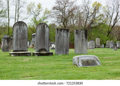 KINGSTON, NEW JERSEY - April 26, 2017: Old headstones mark graves at this historic cemetery in Middlesex County
