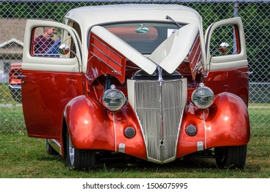 Kingston, Nova Scotia, Canada - August 24, 2019 : 1936 Ford Tudor at Autos for Autism Show & Shine in Annapolis Valley region of Nova Scotia.