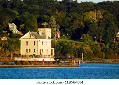 Kingston, NY, USA September 18, 2009 Rondout Lighthouse, near Kingston, New York, assists boats in navigating the waters of the Hudson River