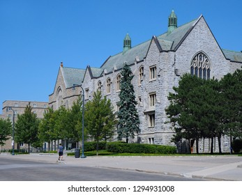 KINGSTON, ONTARIO, CANADA - AUGUST 2018:  Queen's University is one of Canada's oldest and most prestigious, with gothic stone buildings dating to the Victorian period.