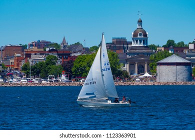 Kingston Ontario Canada, June 20th 2018 - View of Kingston while boating on the St Laurent river