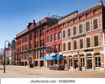 Kingston, Ontario, Canada, March 8,2017. King Street in downtown Kingston, Ontario, Canada with businesses and restaurants