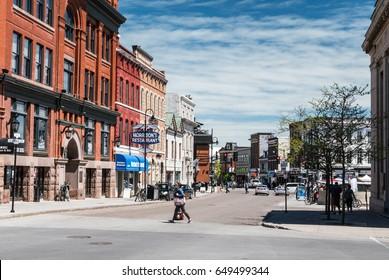 KINGSTON, ONTARIO, CANADA - MAY 27, 2017: Looking down King Street in downtown Kingston, Ontario Canada from Clarence Street.