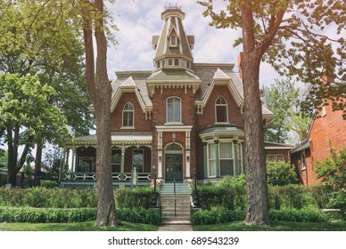 KINGSTON, ONTARIO, CANADA - MAY 27, 2017: A stylized view of The  Hochelaga Inn, a supposedly haunted historic inn established in 1879. It is located in Kingston, Ontario Canada.