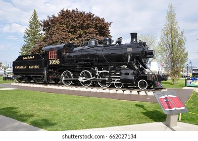 Kingston, Ontario, Canada - May 29, 2017: Engine 1095, also known as 'The Spirit of Sir John A.'  at Confederation Park in Kingston.
