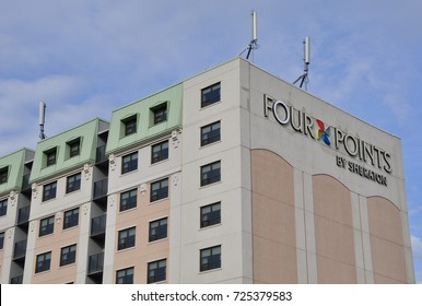Kingston, Ontario, Canada - May 29, 2017: Four Points by Sheraton hotel building in downtown Kingston, Ontario.