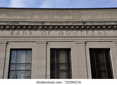 Kingston, Ontario, Canada - May 29, 2017: Exterior and sign of Bank of Montreal (BMO) in downtown Kingston, Ontario.