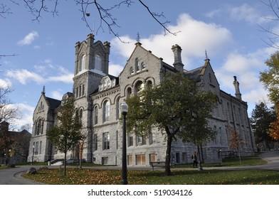 Kingston, Ontario, Canada - November 12, 2016: Beautiful Theological Hall building in Queen's University, Kingston in fall season.