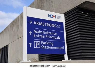 Kingston, Ontario, Canada - November 12, 2016: Sign of Kingston General Hospital.