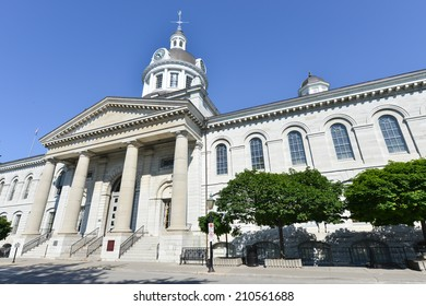 KINGSTON, ONTARIO - JULY 5, 2014: Kingston City Hall in Kingston, Ontario, Canada. The city hall is a prominent edifice constructed in the Neoclassical style with a landmark tholobate and dome.
