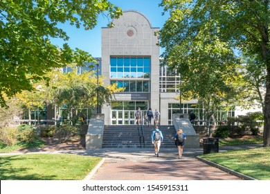KINGSTON, RI/USA - SEPTEMBER 26, 2019: Robert L. Carothers Library and Learning Commons on the campus of the University of Rhode Island.
